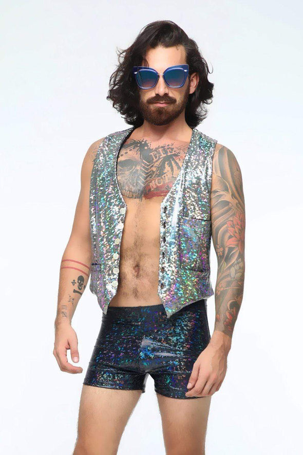 Mens Holographic Shorts - Mens Bottoms From Sea Dragon Studio Festival & Rave Outfit Collection