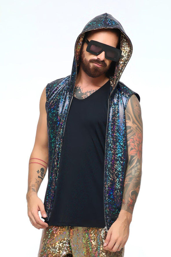 Mens Holographic Sleeveless Hoodie - Men's Top From Sea Dragon Studio Festival & Rave Clothing Collection