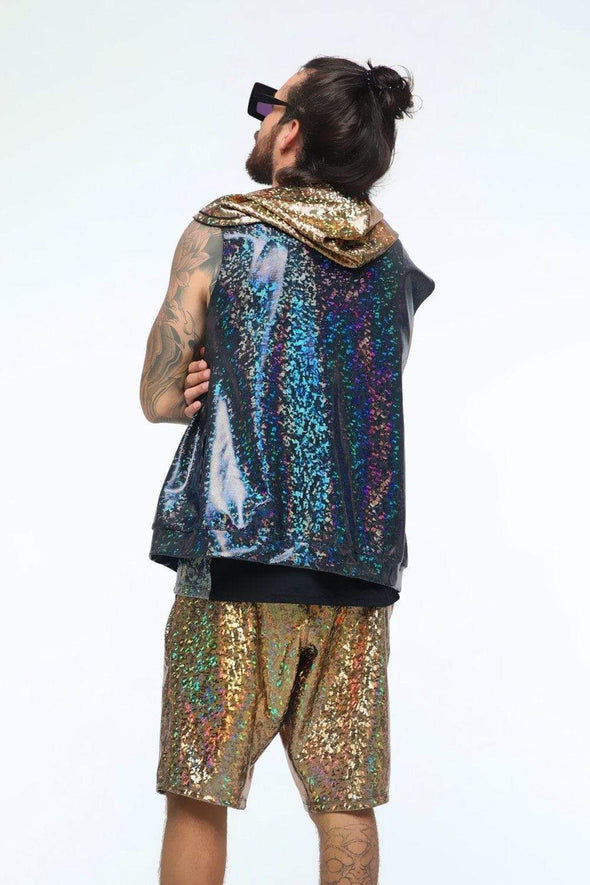 Mens Holographic Sleeveless Hoodie - Men's Top From Sea Dragon Studio Festival & Rave Outfit Collection