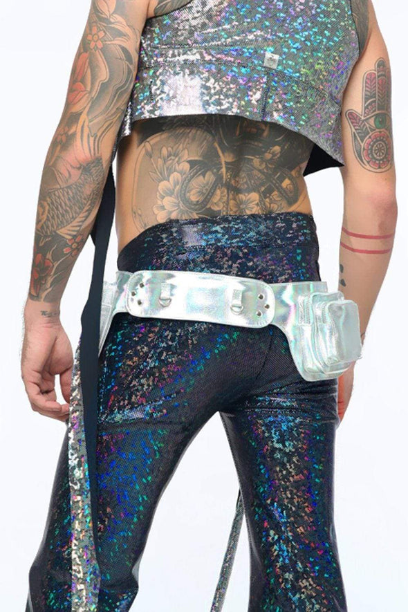 Holographic Leather Utility Belt