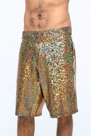 Mens Holographic Festival Shorts - Men's Bottoms From Sea Dragon Studio Festival & Rave Clothing Collection