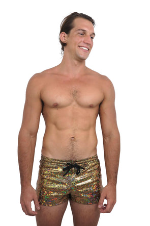 Mens Holo Retro Running Shorts - Holographic Mens Bottoms From Sea Dragon Studio Festival & Rave Clothing Collection