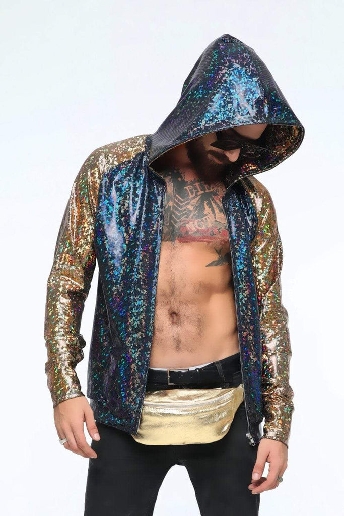 Mens Holographic Hoodie - Men's Tops From Sea Dragon Studio Festival & Rave Clothing Collection