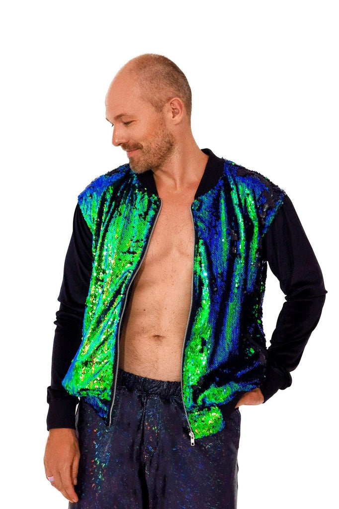 Mens Sequin Bomber Jacket Mens Tops SEA DRAGON STUDIO XSMALL