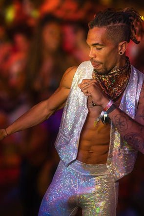 Mens Holographic Dancing Vest - Men's Tops From Sea Dragon Studio Festival & Rave Clothing Collection