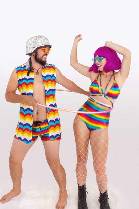 Over The Rainbow Zip Side Hotpants - Womens Bottoms