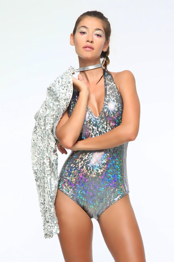 Holographic Halter Bodysuit - Women's Bodysuits From Sea Dragon Studio Festival & Rave Clothing Collection