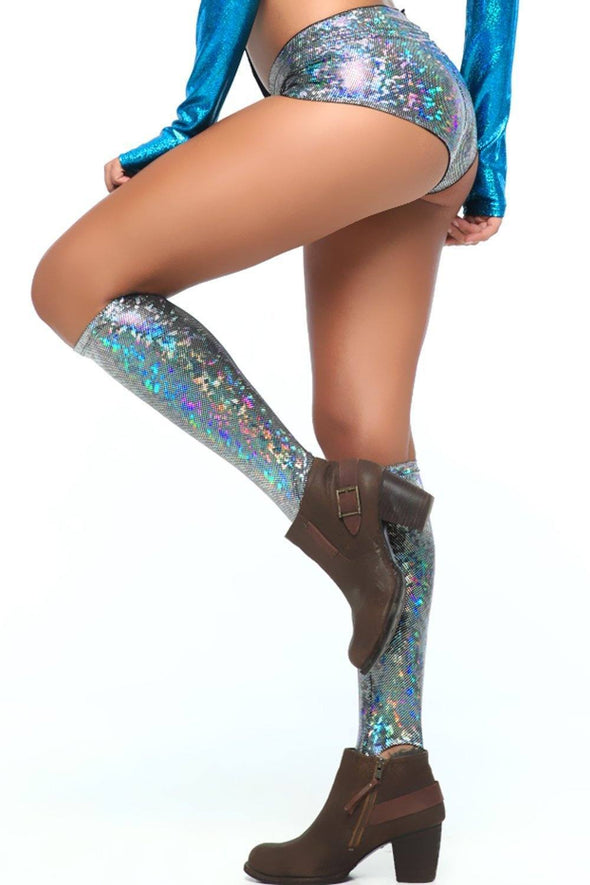 Holographic Knee High Socks - Women's Festival & Rave Clothing Accessories From Sea Dragon Studio