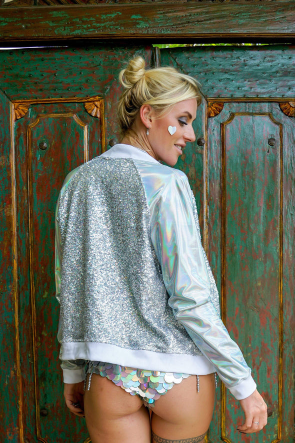 Disco Dreams Holographic Sequin Bomber Jacket