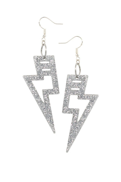 Silver Glitter Lighting Bolt Earrings | Easy Tiger Designs