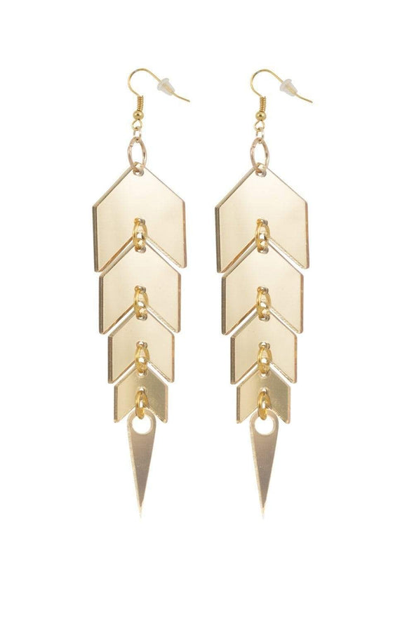 Gold Mirror Drop Earrings