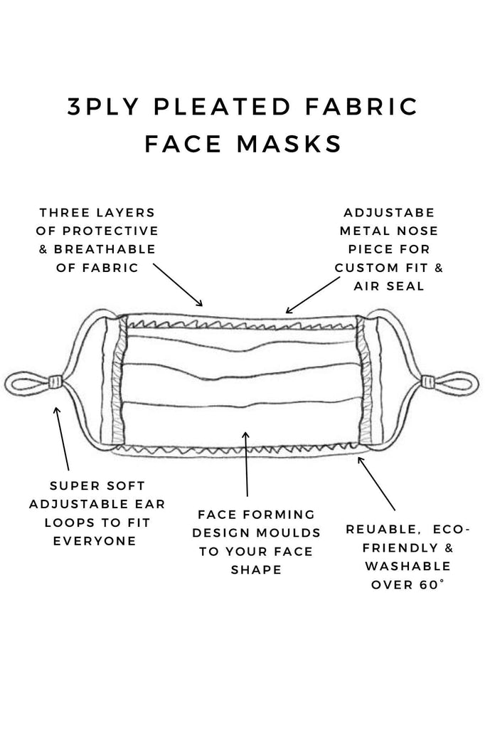 Retrovision 3ply Pleated Cotton Face Mask Masks UNIFY