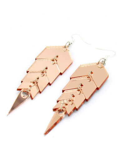 Rose Gold Snake Spine Earrings