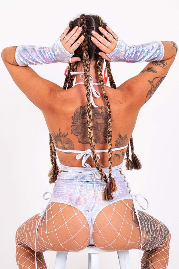Ultra-Booty Lace-Up Holographic Hot Pants | 13 Colors
