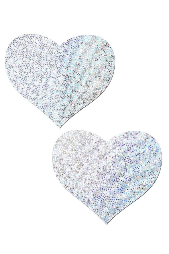 Holographic Silver-White Glitter Heart Nipple Pasties