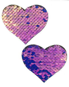 Midnight Unicorn Holographic Purple Pink Gold Flip Sequin Sequin Heart Nipple Pasties