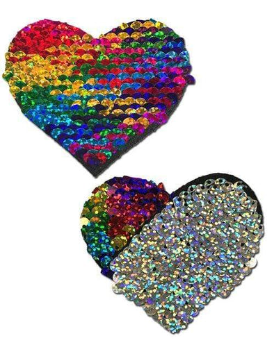 Rainbow And Silver Glitter Color Changing Sequin Heart Nipple Pasties