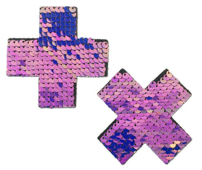 Midnight Unicorn Holographic Purple Pink Gold Flip Sequin Cross Nipple Pasties