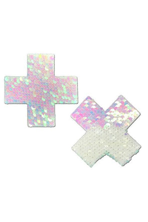 Iridescent Pink Pearl & White Flip Sequin Cross Nipple Pasties