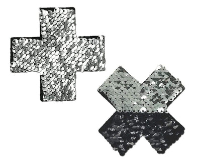 Silver & Black Flip Sequin Cross Nipple Pasties