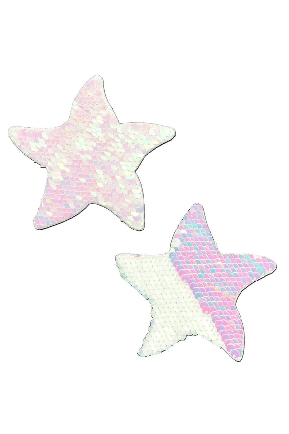Iridescent Pink Pearl & White Flip Sequin Star Nipple Pasties
