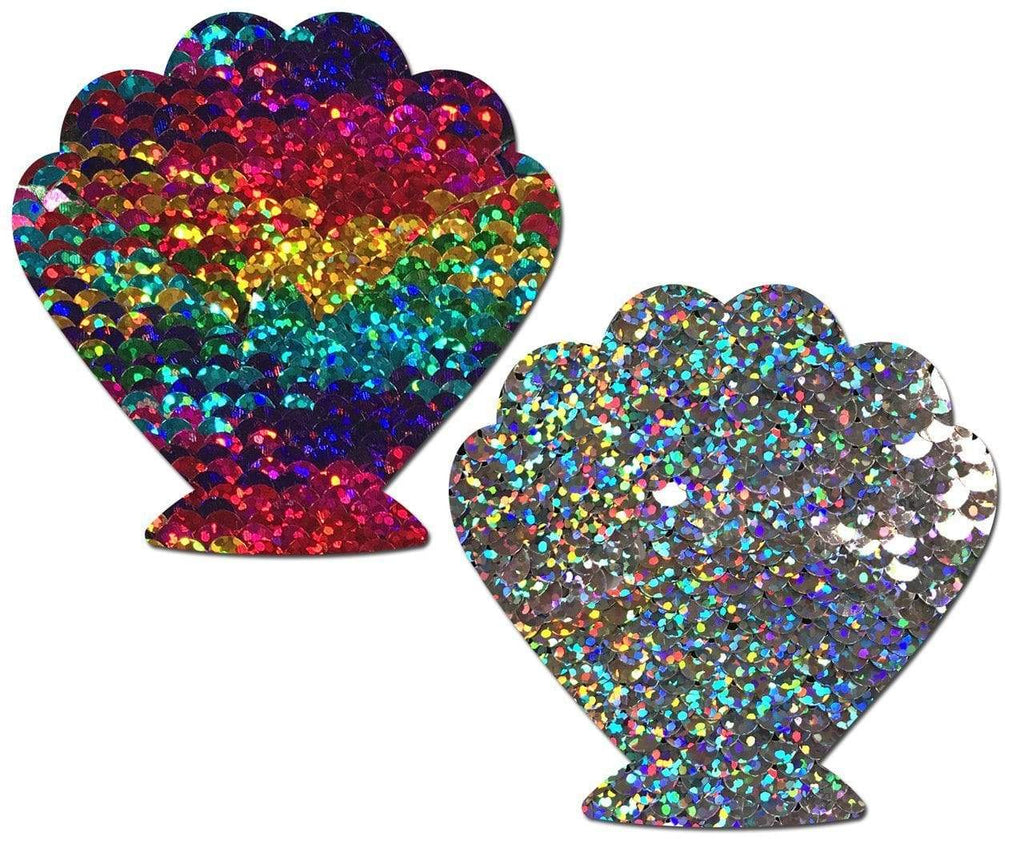 Rainbow And Silver Glitter Color Changing Sequin Seashell Nipple Pasties Pasties PASTEASE