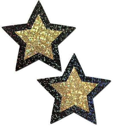 Black and Gold Glitter Star Nipple Pasties