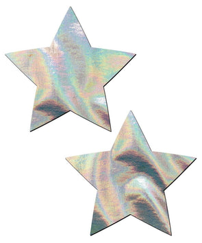 Silver Holographic Star Nipple Pasties
