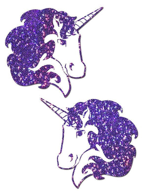 Purple Glitter Unicorn Nipple Pasties
