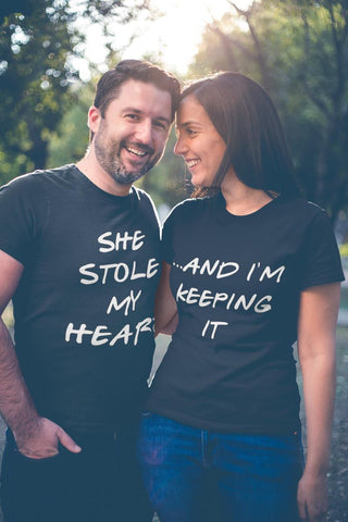 she stole my heart and im keeping it couples' relationship shirts