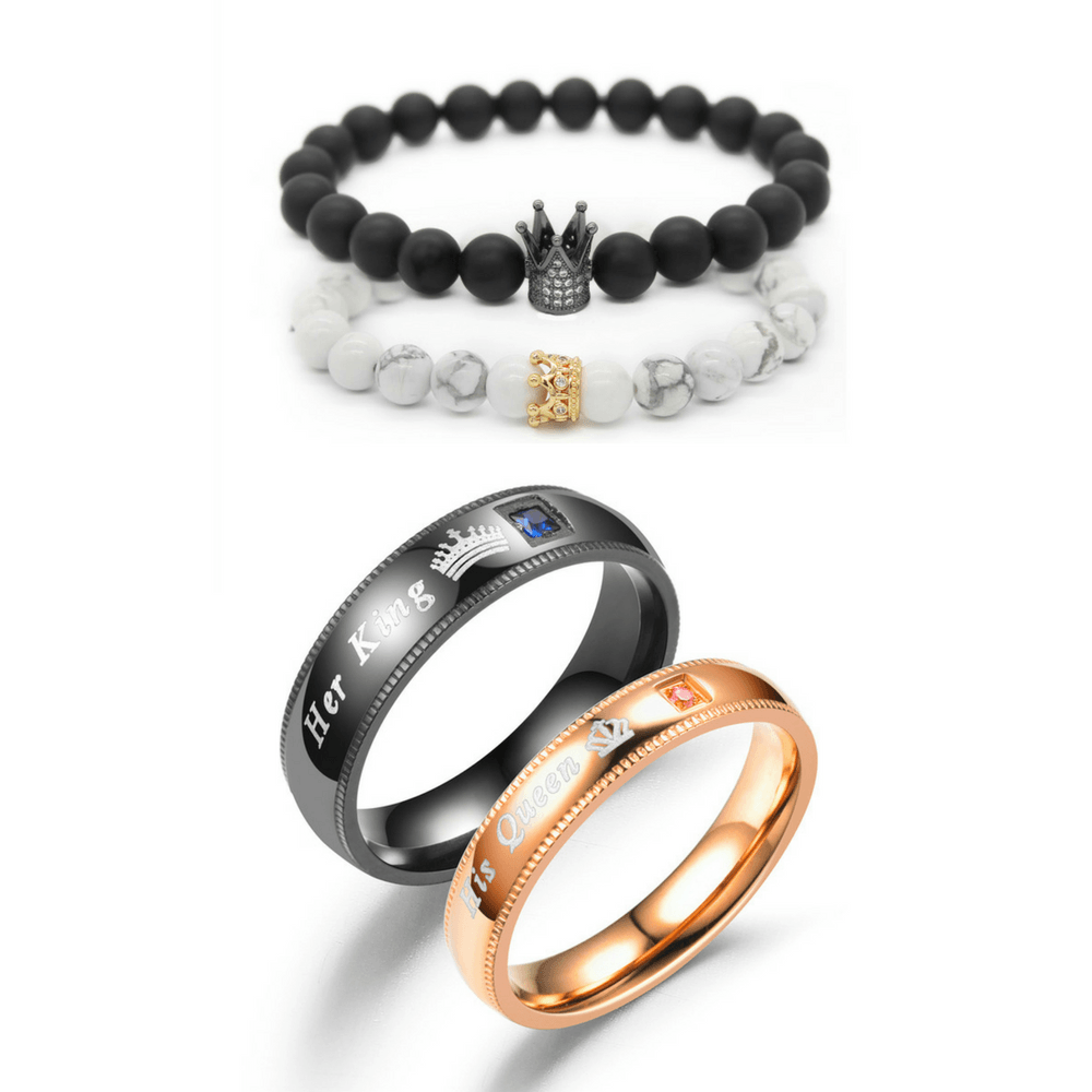 Crown Bracelets + Lover Rings Bundle - Holistic Bear