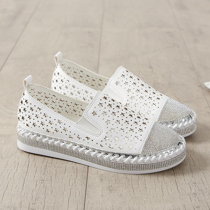 Women Crystal Handmade Knitting Platform Shoes