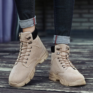 2019 New Men Pu Leather Ankle Oxford Boots