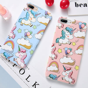 Phone Cases - Cute Cartoon Unicorn Smooth Touch Hard PC Capa Cover for iPhone