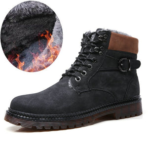 Men's Fashion Rubber Ankle Leather Fur Boots