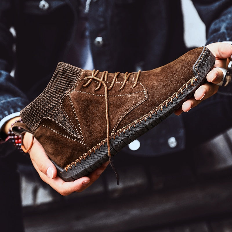Men Handmade Lace-Up Non-slip Ankle Boots