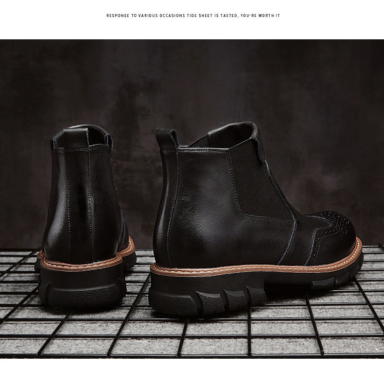 2019 New Genuine Leather Chelsea Boots