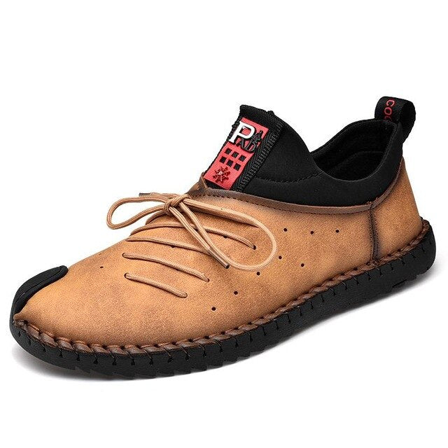 Men's Solid Color Round Toe Sewing Flats