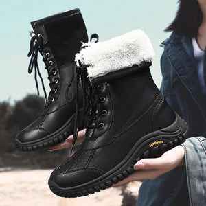 Women's Leather Thick Plush Snow Boots