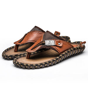Shoes - 2019 Hand-made Genuine Leather Men Beach Slippers