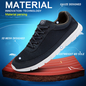 Shoes - Men Breathable Lace-Up Walking Casual Shoes