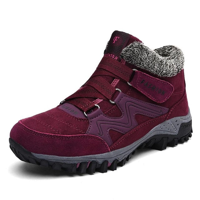 Women Comfy Warm Suede Hook Loop Ankle Boots
