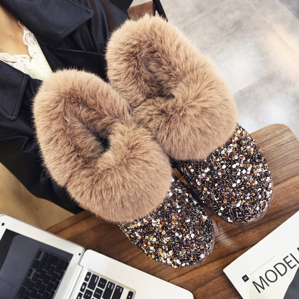 Glittering Shiny Women Winter Warm Hairy Ankle Boots