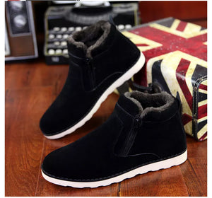 Warm Men Plush Zipper Winter Shoes