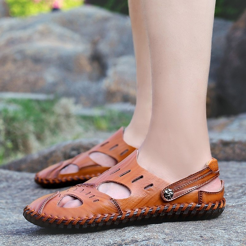 Men's Genuine Split Leather Beach Roman Sandals