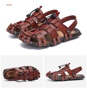 New Men's Breathable Leather Beach Sandals