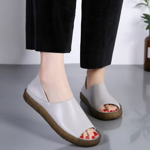 Genuine Leather Wedge Heel Comfort Sandals