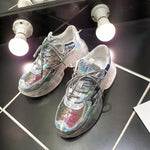 Luxury Silver Diamond Women Sneakers