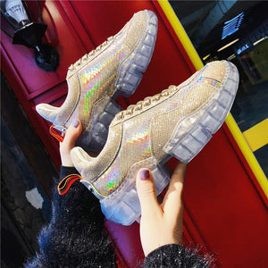 Fashion Blingbling Silver Crystal Women Sneakers