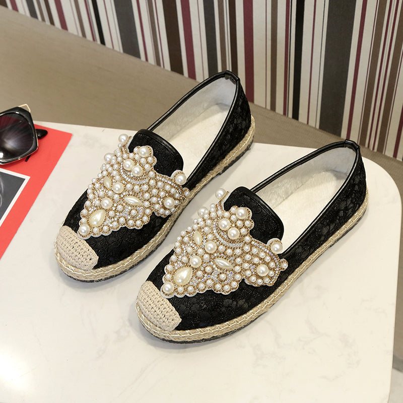 String Bead Mesh Round Toe Slip-On Espadrilles